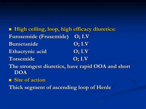 high ceiling diuretics side effects ppt diuretics saluretics powerpoint presentation id