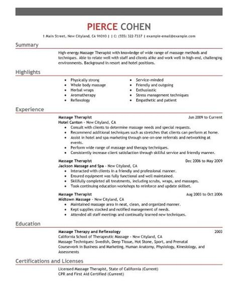 massage therapist resume sample sample resumes sample