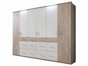 Armoire 6 Portes : armoire 6 portes 12 tiroirs smart coloris ch ne blanc ~ Teatrodelosmanantiales.com Idées de Décoration