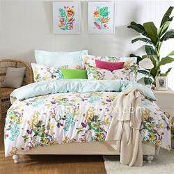 charming flowers high end full cotton reactive printing pattern bedding set 4pc queen full