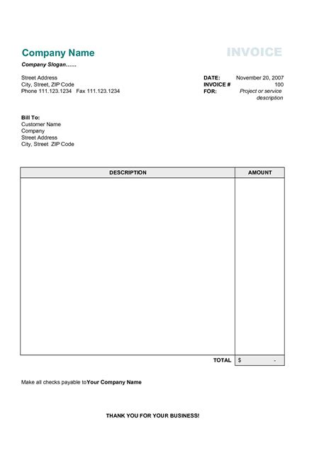 business invoice template  business template