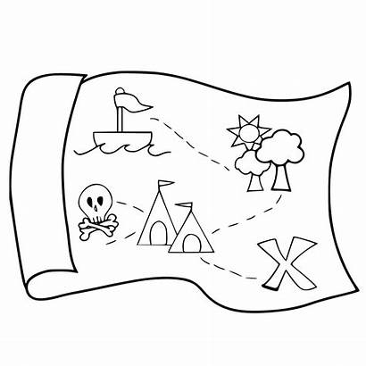 Treasure Map Coloring Pages Drawing Pirate Easy