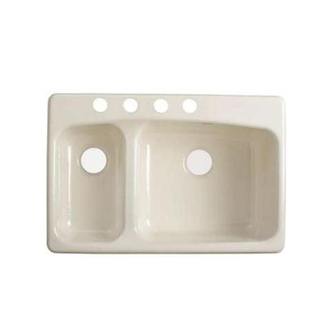 kohler lakefield kitchen sink kohler lakefield self rimming cast iron 33x22x10 25 4 hole