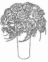 Coloring Roses Rose Bouquet Pages Bunch Drawing Wife Printable Hearts Border Wings Getdrawings Getcolorings sketch template