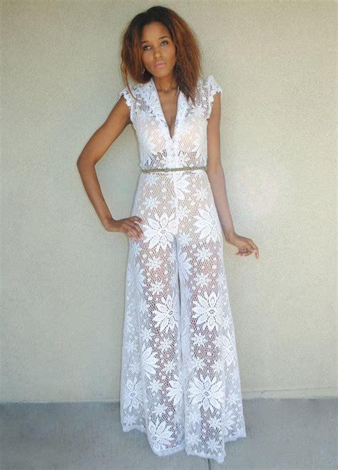 boho jumpsuit vintage white lace palazzo jumpsuit wide leg jumpsuit
