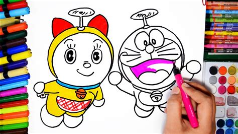 draw color paint flying doraemon  dorami coloring pa