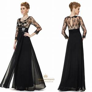 Black Prom Dresses With Lace Sleeves,Black And White Prom ...