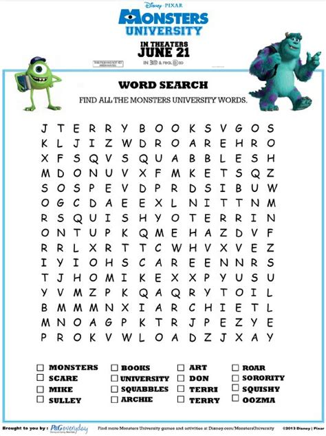 monsters university word search disney paper activities
