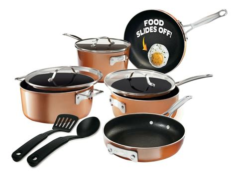 stackable gotham stackmaster steel pots pans piece complete cookware sets stick non pan 10pc textured copper cast