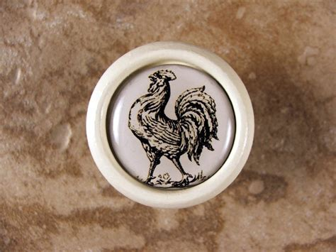 Rooster Cabinet Door Knobs by Handmade Rooster Kitchen Decor Knob Pull Handle In Wood