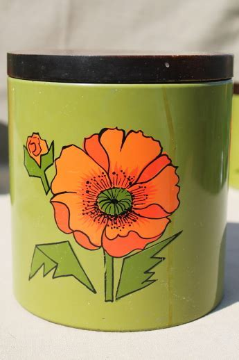 Vintage Ransburg kitchen canisters set, red poppies on