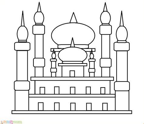 koleksi sketsa gambar masjid untuk diwarnai terbaru repptu