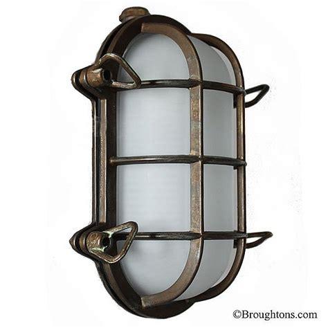 oval bulkhead flush outdoor wall light aged copper
