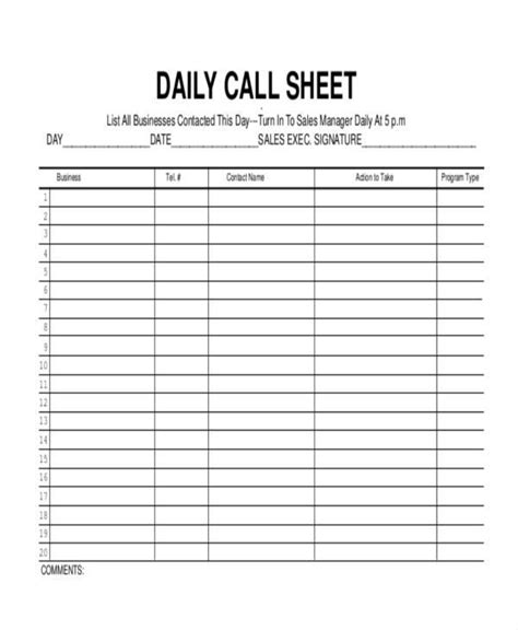 call log templates in pdf
