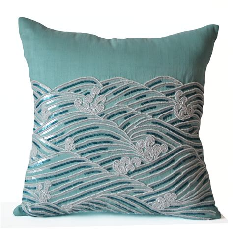 decorative pillow cover teal throw pillows sequin accent