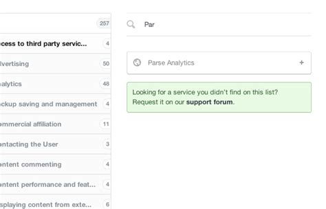 Parse Analytics Privacy Policy Clause