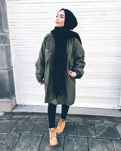 Military hijab style with timberland boots- Hijabi traveling style u2013 Just Trendy Girls | Hijab ...