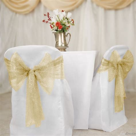 buy gold metallic web mesh chair sashes for your wedding