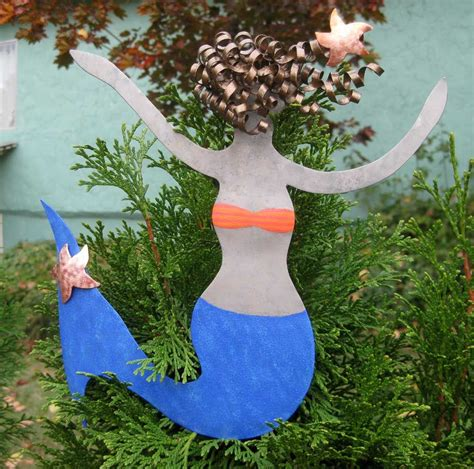 handmade metal art mermaid christmas tree topper recycled
