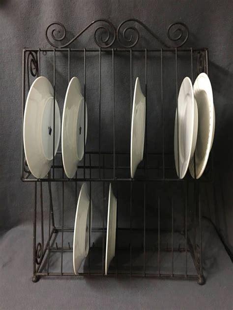 farmhouse wrought iron metal plate rack wall plate rack dish display drying rack kitchen