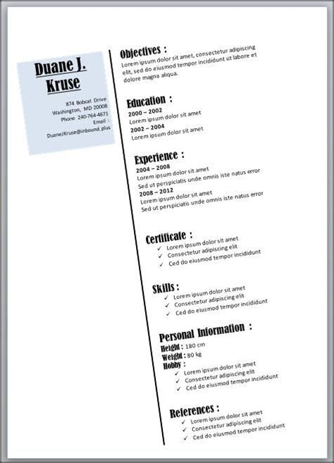 Two Column Resume Template Word by 1000 Images About Resume Template Microsoft Word On