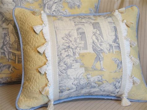 toile country pillow cover blue and yellow decorative