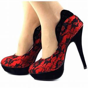 Red, Lace, Heels, Vampire, Platform, Pumps, For, Halloween, For, Ball, Date