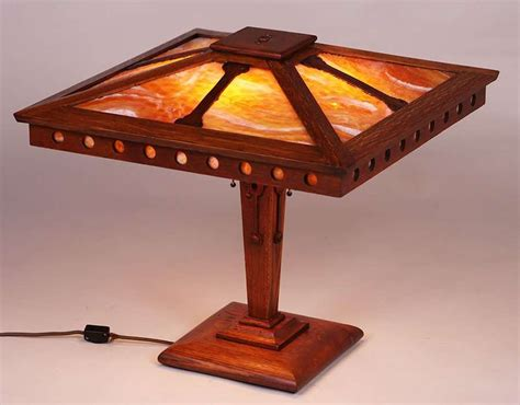 wb brown oak prairie school lamp  california