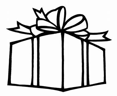 Present Outline Clipart Christmas Pages Coloring Gift