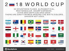 Rechthoekige vlaggen van 2018 WKlanden — Stockvector