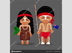 Australian aborigines in national dress with a flag