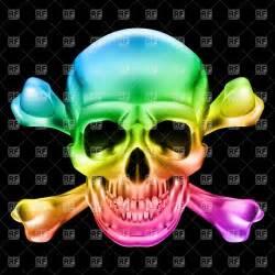 Rainbow skull and crossbones Vector Image #16232 – RFclipart