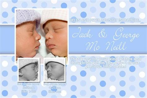 twin birth announcements photo cards twin announcement cards with pale blue spots