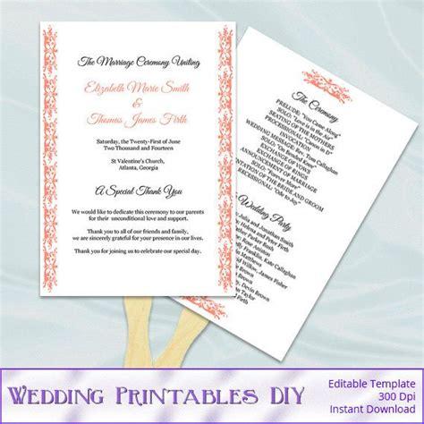 diy wedding program fans template coral wedding fan programs templates diy printable