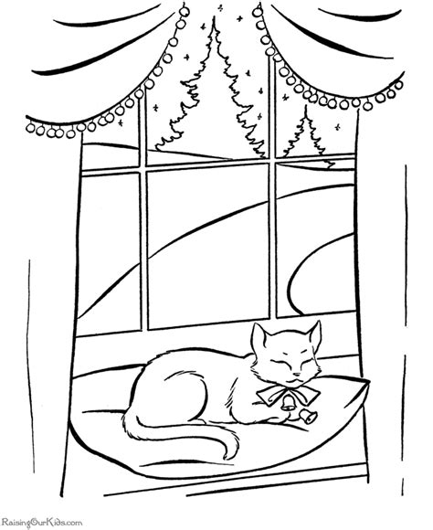 Cat napping in window.   COLORING Christmas   Pinterest