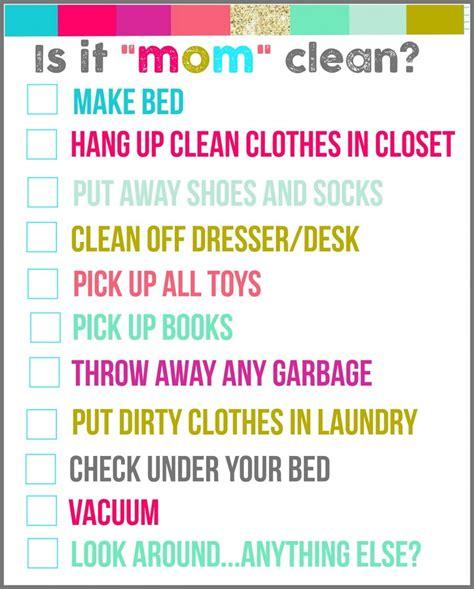 mom cleanbedroom checklist printables  girl