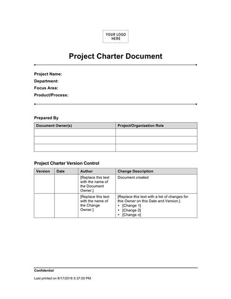 Project Charter Document Sample In Word And Pdf Formats