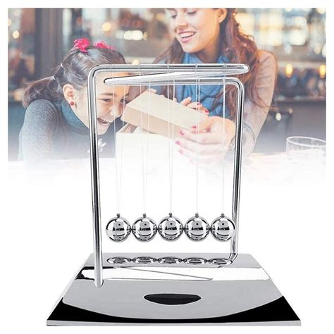 shaped newtons cradle educational desk toy silver