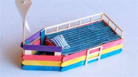 How To Make A Boat Using Craft Sticks by Popsicle Stick Crafts Diy Boat Bed Youtube
