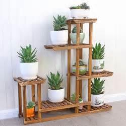 wooden plant flower pot display stand wood shelf storage