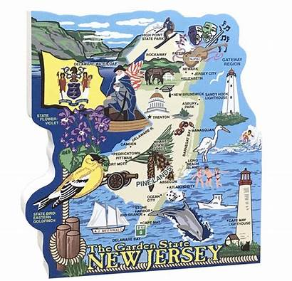 Jersey Map State Cat Village Meow