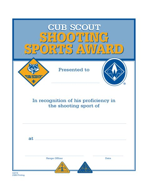 shooting sports certificate template