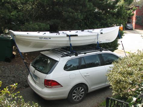 Row Boat Roof Rack whitehall spirit 174 sculling row boat being transported on a