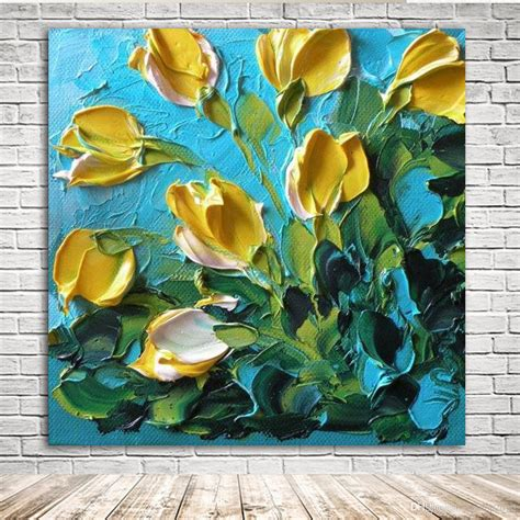 Fashion design 100% high quality! 2021 KGTECH 3D Thick Texured Acrylic Painting Yellow Tulip ...