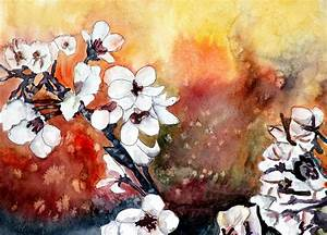 Japanese Cherry Blossom Abstract Flowers Painting by Derek ...