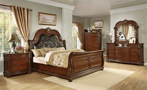 Cherry Wood Queen Bedroom Sets Brown Cherry Queen