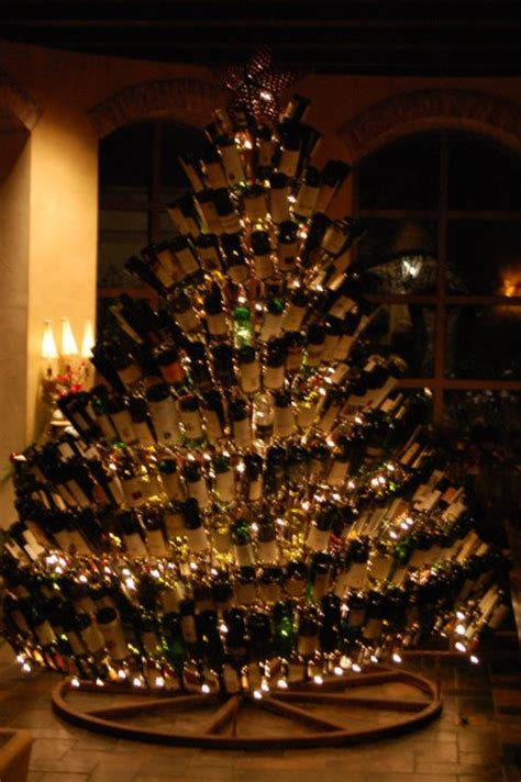 christmas tree made from wine bottles december photo project knittybutton