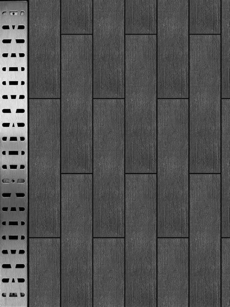 grey woodlike tile | FreeStyle Linear Drain with dark grey