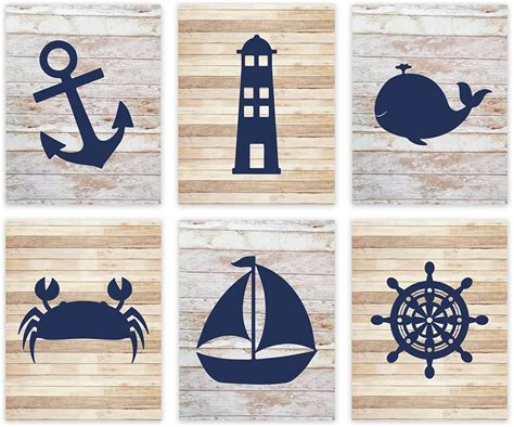 Beach decor to make any room, nautical decor for nursery, or gallery wall pop! Andaz Press Nautical Theme Nursery Hanging Wall Art, Rustic Distressed Wood, Anchor, Lighthouse ...