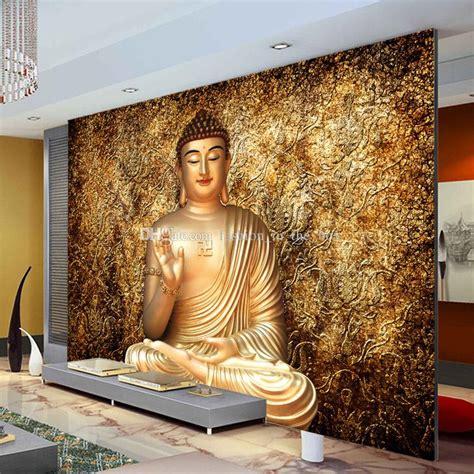golden buddha photo wallpaper buddhist temple wall mural